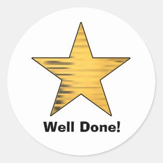 Gold Star Well Done Round Sticker