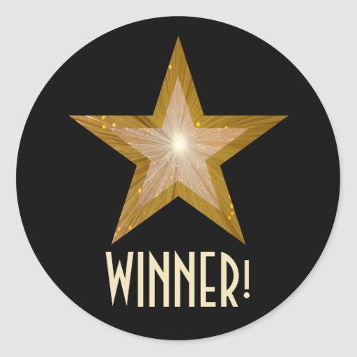 Gold Star 'WINNER!' round sticker black
