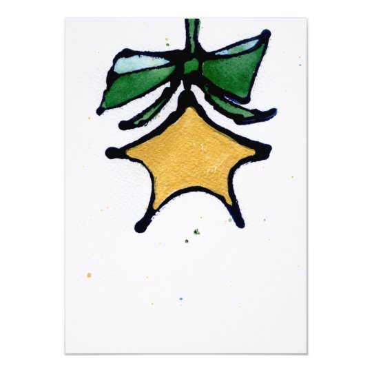 Gold star with green ribbon card