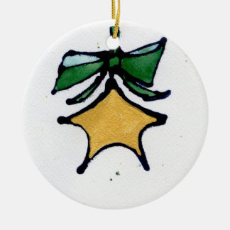 Gold star with green ribbon ornament