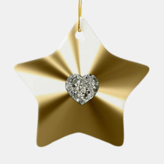 Gold Star With Heart Diamond Ornament
