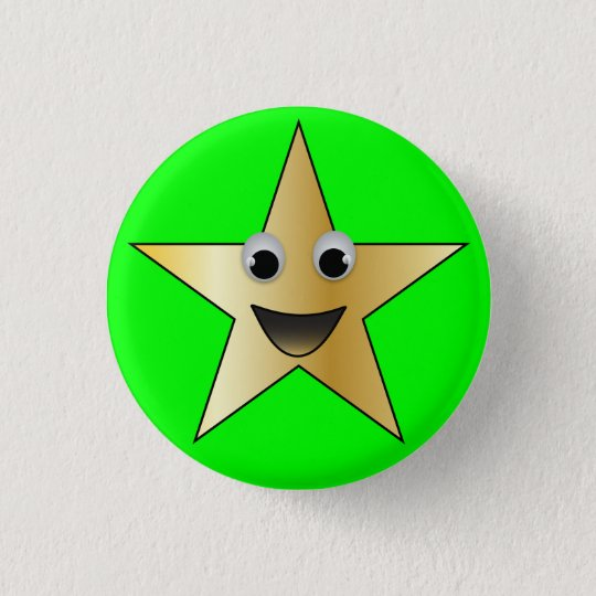 Gold Star with Smiling Face 3 Cm Round