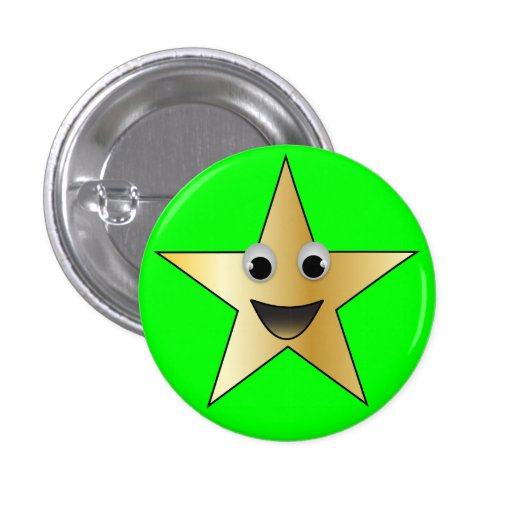 Gold Star with Smiling Face Buttons