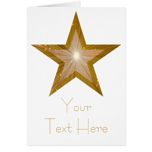 Gold Star 'Your Text' card white vertical