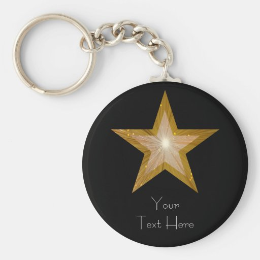 Gold Star 'Your Text' keychain black