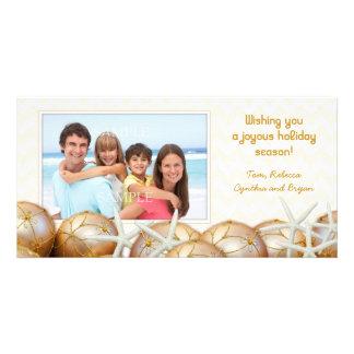 Gold Starfish Photo Christmas Cards