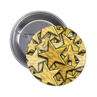Gold Stars 6 Cm Round Badge
