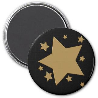 Gold Stars 7.5 Cm Round Magnet
