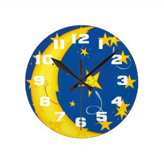Gold Stars And Moon Round Clock