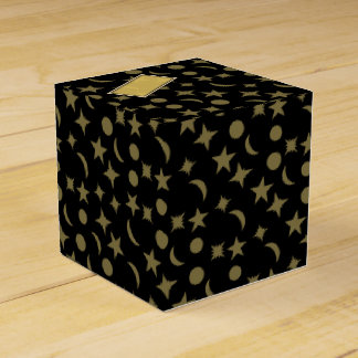 GOLD STARS AND MOON WITH LABEL by Slipperywindow Favour Box