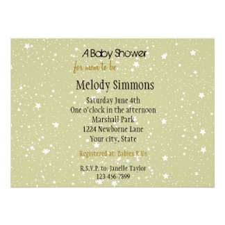 Gold Stars baby shower Invites