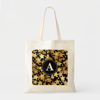 Gold Stars Black Pattern Monogram Tote Bag