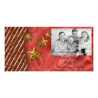 Gold Stars Christmas Photo Card