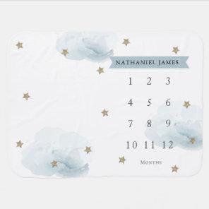 Gold Stars & Clouds Blue Boy Monthly Milestone Baby Blanket
