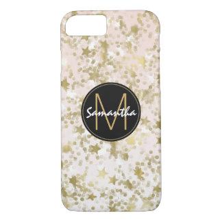 Gold Stars Confetti Peach Monogram iPhone 8/7 Case
