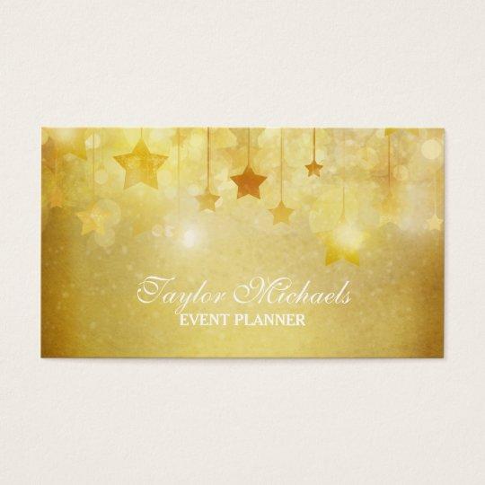 Gold Stars Glitter Event Planner Business Card