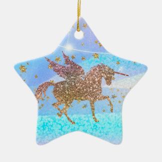 Gold Stars Glitter Flying Unicorn Purple Custom Christmas Ornament