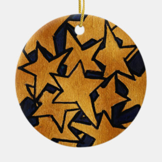 Gold Stars Hand-Painted Pattern Christmas Ornament