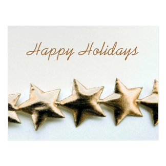 Gold Stars Happy Holidays Postcard