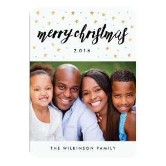 Gold Stars Merry Christmas Holiday Photo Card 13 Cm X 18 Cm Invitation Card