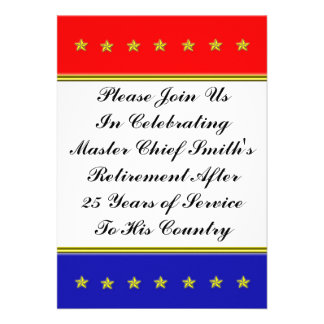 Gold Stars Military Retirement Personalized Announcements