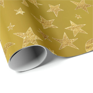 Gold Stars Moon Sky Metallic Mustard Yellow Wrapping Paper