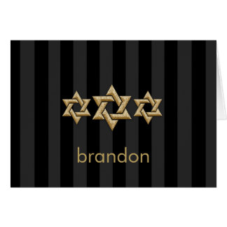Gold Stars of David on Any Color Bar Mitzvah Note Card