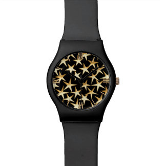 Gold stars on a black background wrist watches