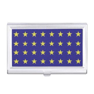 Gold Stars on Blue Background EU Colors Pattern Business Card Holder