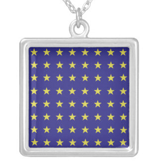 Gold Stars on Blue Background EU Colors Pattern Silver Plated Necklace