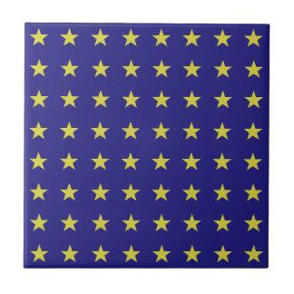 Gold Stars on Blue Background EU Colors Pattern Tile