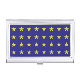 Blue and gold patterns business card holders cases zazzle gold stars on blue background eu colours pattern business card holder colourmoves