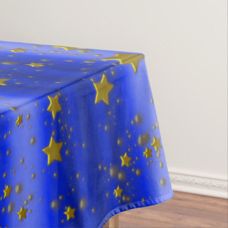 Gold Stars on Blue Christmas Tablecloth