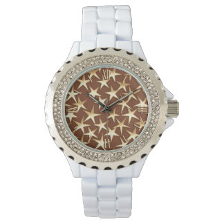 Gold stars on chocolate brown wristwatch