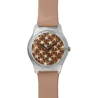 Gold stars on chocolate brown watch