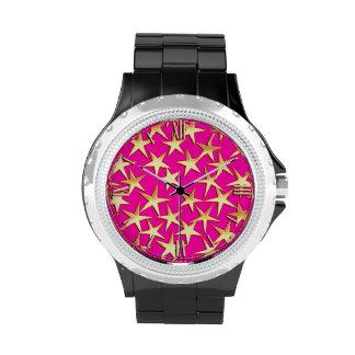 Gold stars on fuchsia pink wrist watches