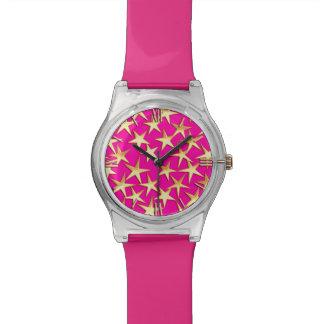 Gold stars on fuchsia pink wrist watch