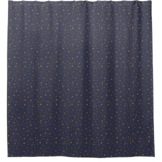 Gold Stars on Navy Blue Shower Curtain