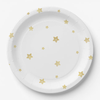 Gold Stars Paper Plate