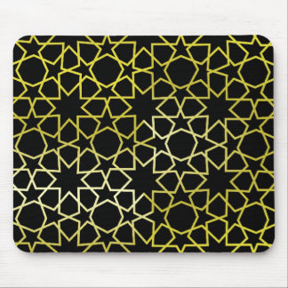 Gold Stars Pattern on Black Mouse Mat