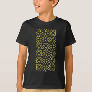 Gold Stars Pattern on Black T-Shirt