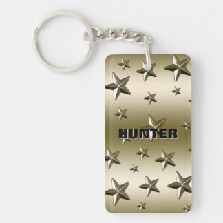 Gold Stars Pattern Starry Sparkle Metal Effect Double-Sided Rectangular Acrylic Keychain