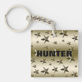Gold Stars Pattern Starry Sparkle Metal Effect Double-Sided Square Acrylic Keychain