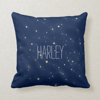 Gold Stars Personalized with Name Throw Pillow