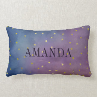 Gold Stars & Purple Watercolor - Add Your Name Lumbar Cushion