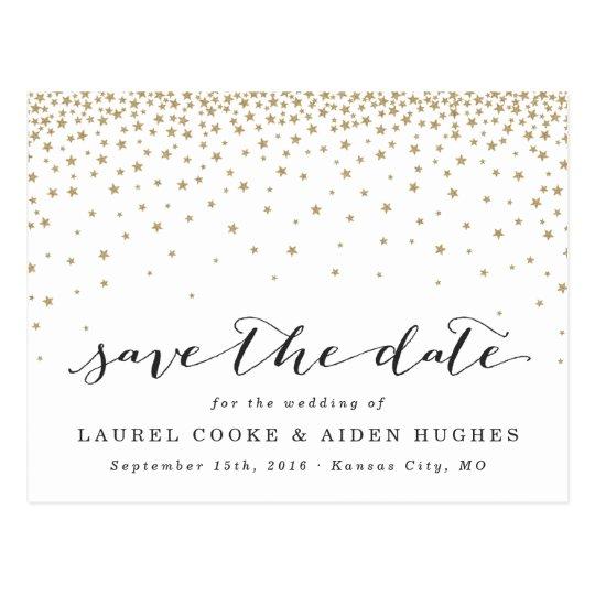 Gold Stars Rustic Modern Save the Date Postcard