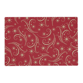 Gold Stars Swirl Pattern on Red Laminated Place Mat