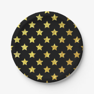 Gold Stars Your Background Color Paper Plate