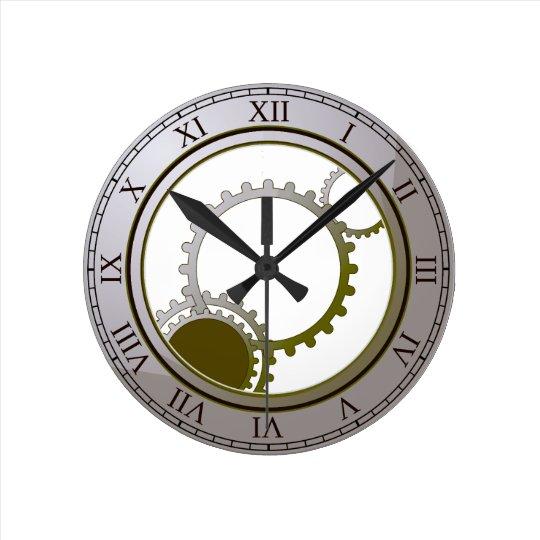 Gold steampunk wall clock