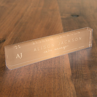 Gold steel copper metallic business name monogram name plate